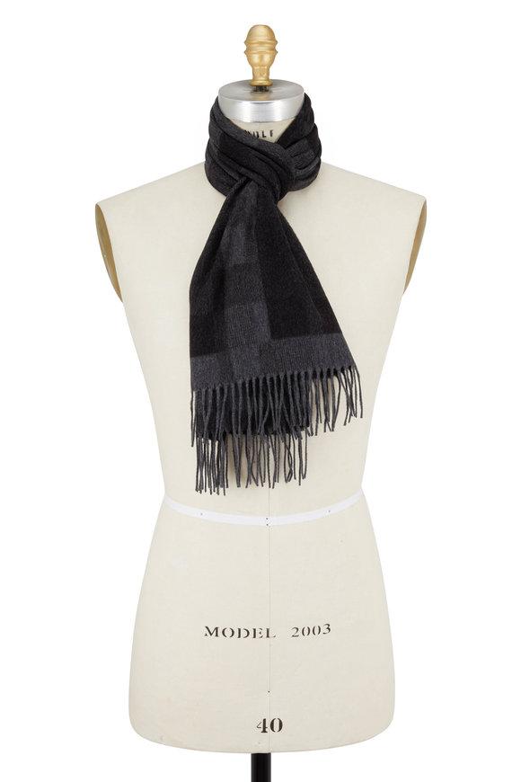 Ermenegildo Zegna Gray Silk Textured Plaid Scarf