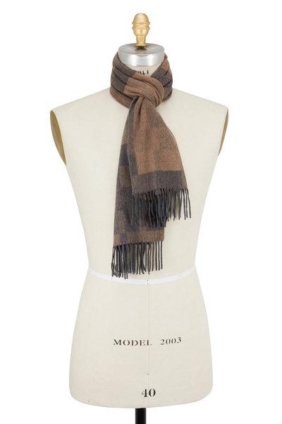 Ermenegildo Zegna - Mushroom Silk Textured Plaid Scarf