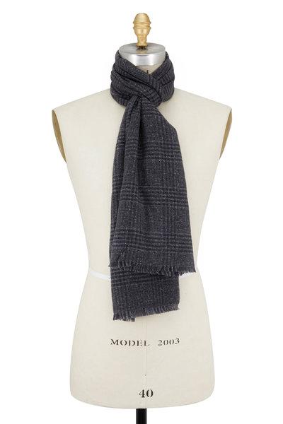 Ermenegildo Zegna - Gray Plaid Wool & Silk Scarf
