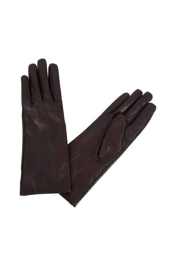 Adrienne  Brown Leather & Cashmere Lined Gloves