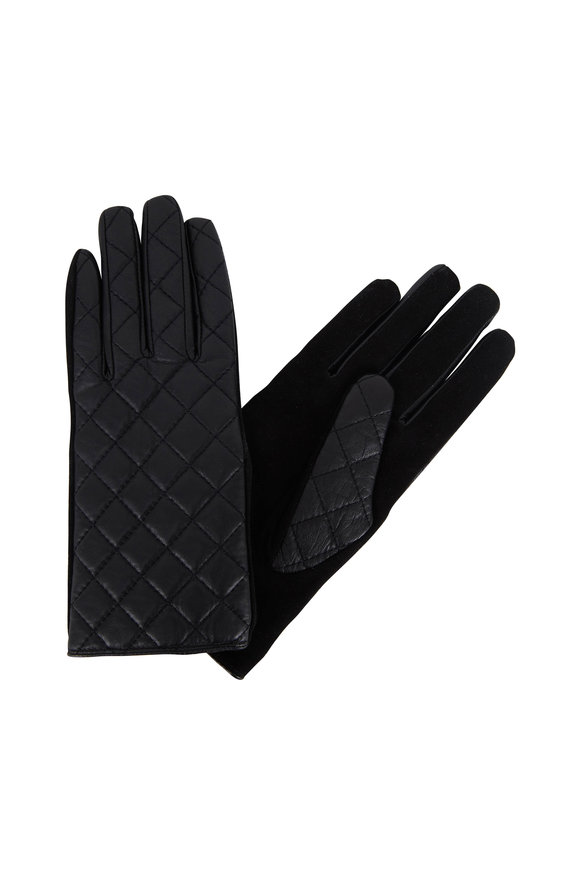 Adrienne  Black Quilted Leather & Suede Gloves
