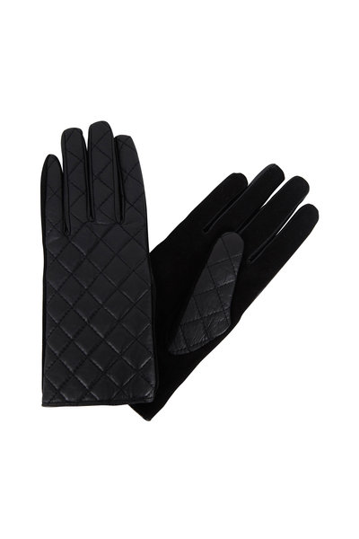 Adrienne - Black Quilted Leather & Suede Gloves