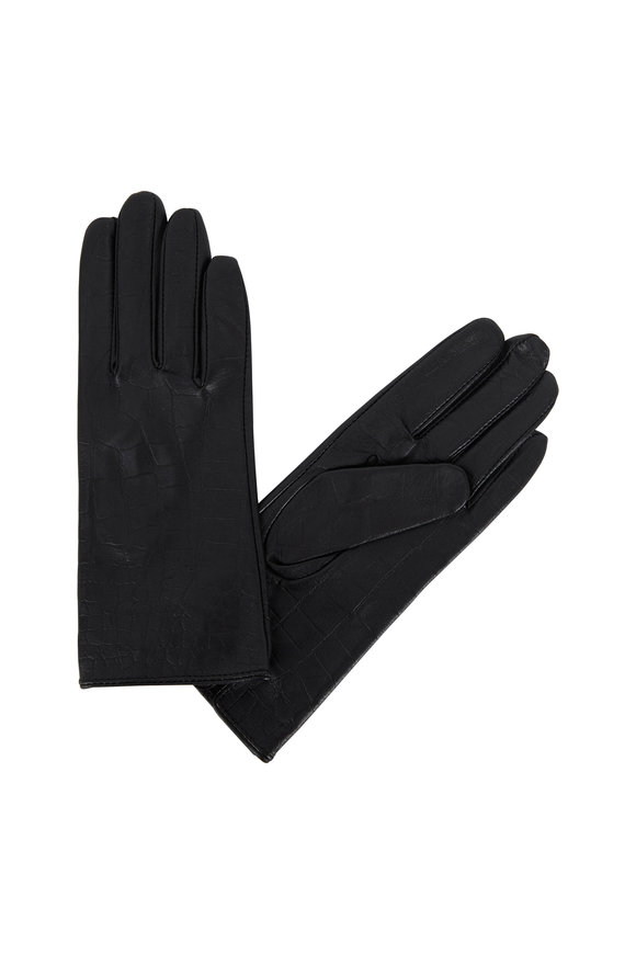 Adrienne  Black Crocodile Stamped Leather Gloves