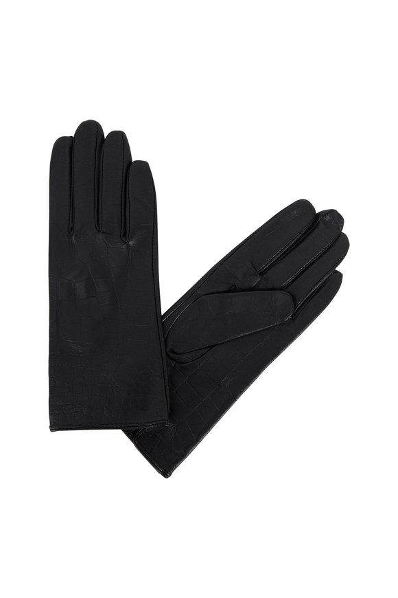 Adrienne  Black Crocodile Stamped Leather Gloves