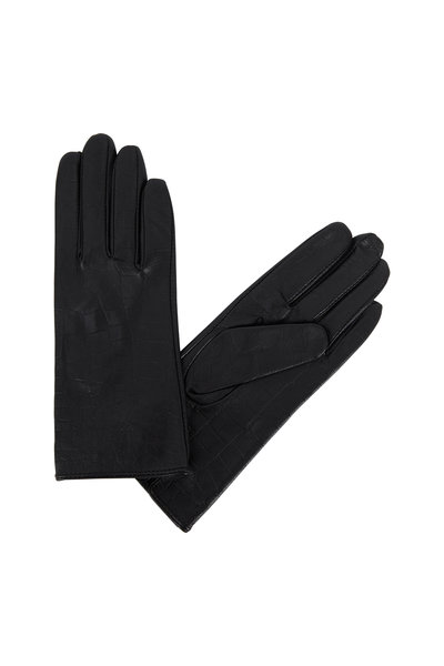 Adrienne - Black Crocodile Stamped Leather Gloves