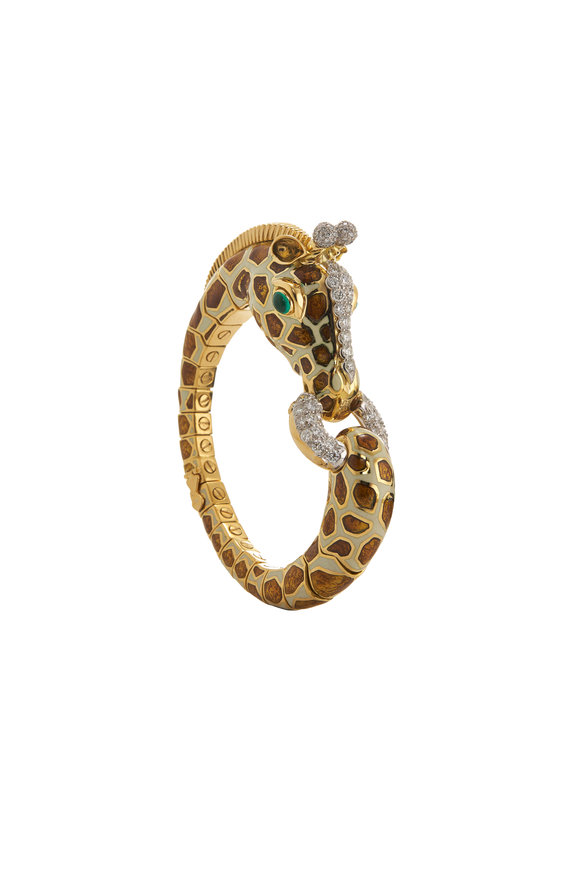 David Webb 18K Gold & Platinum Enamel Giraffe Bracelet