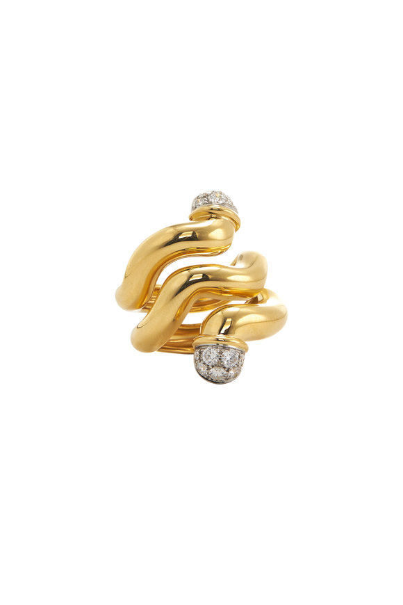 David Webb 18K Yellow Gold Nail Wave Ring