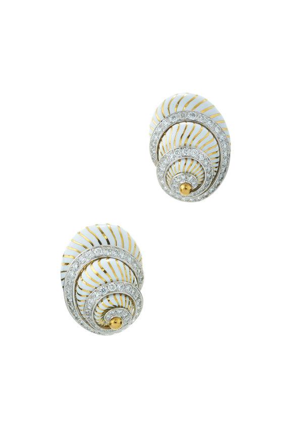 David Webb Gold & Platinum Diamond & Enamel Shell Earrings