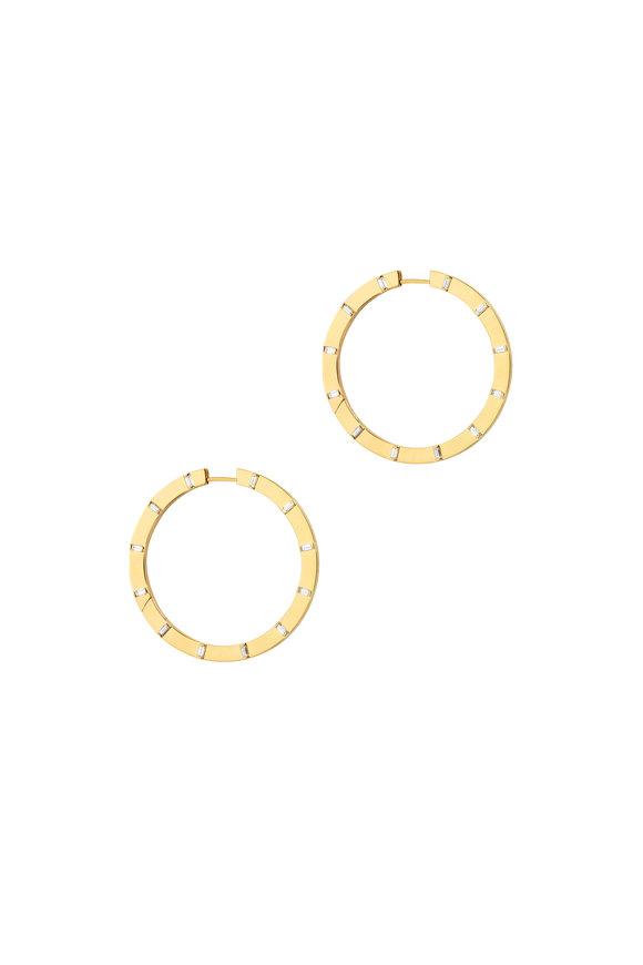 Cadar 18K Yellow Gold Sole Diamond Large Hoop Earrings