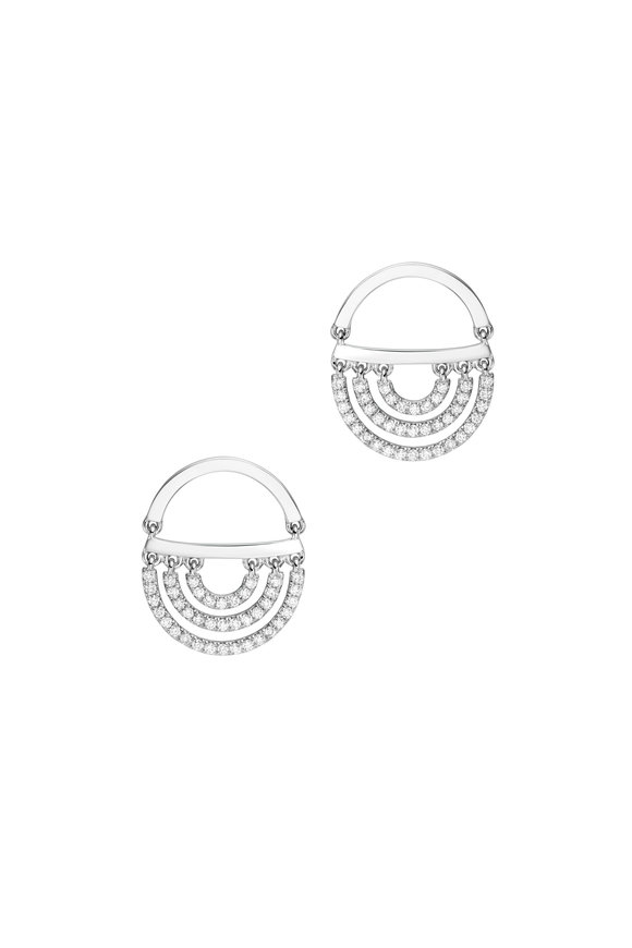 Cadar 18K White Gold Diamond Twin Drop Earrings