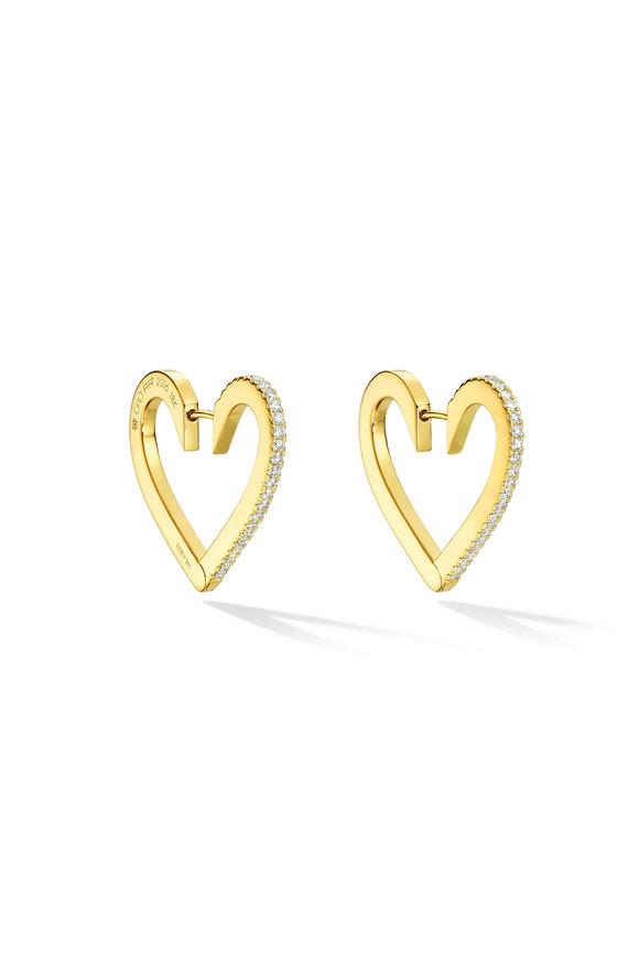 Cadar 18K Yellow Gold Endless Medium Heart Hoops
