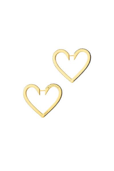 Cadar - 18K Yellow Gold Endless Large Heart Hoops