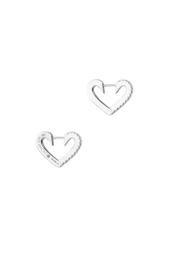 Cadar 18K White Endless Small Heart Hoops