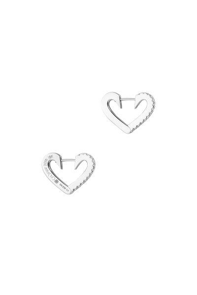 Cadar - 18K White Endless Small Heart Hoops