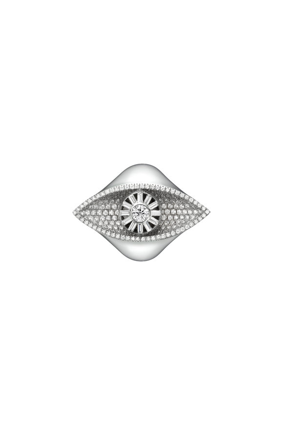 Cadar 18K White Gold Reflections Cocktail Ring