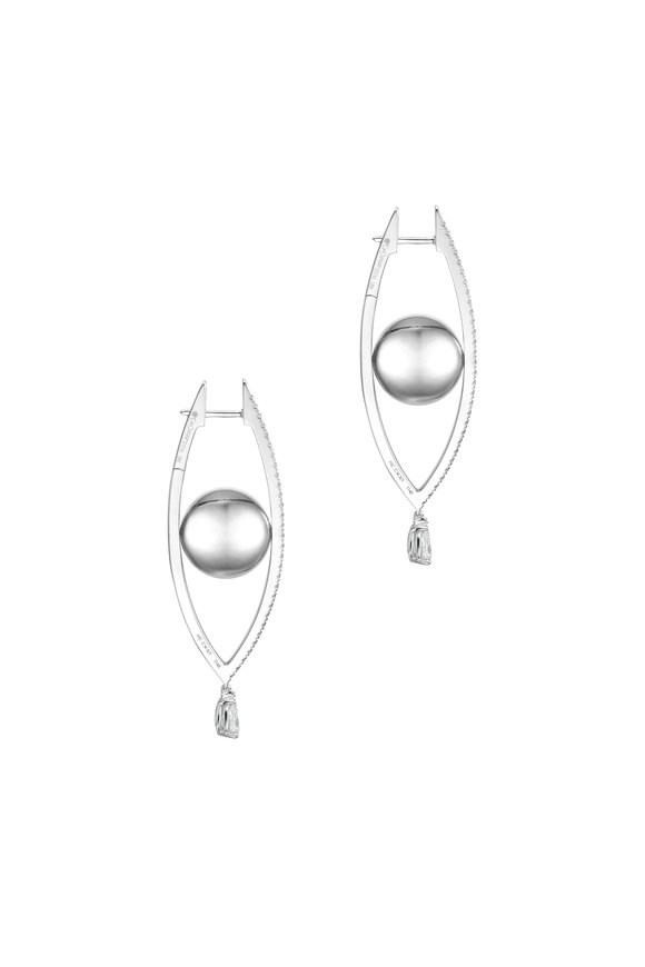 Cadar 18K White Gold Reflections Hoop Earrings
