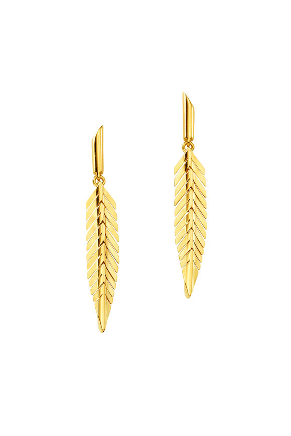 Cadar 18K Yellow Gold Feather Small Drop Earrings