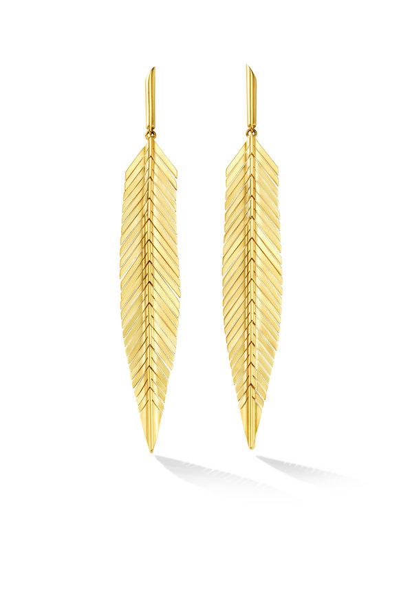 Cadar 18K Yellow Gold Feather Medium Drop Earrings