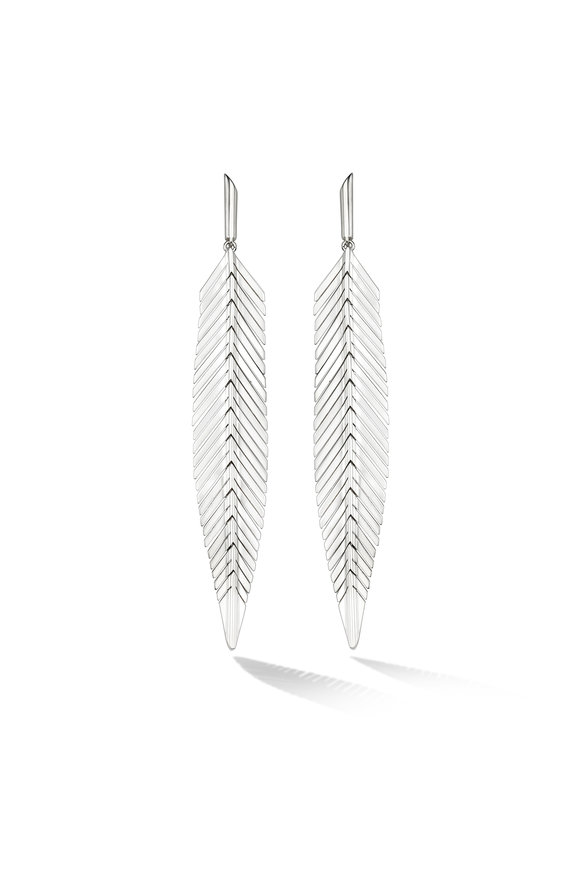 Cadar 18K White Gold Medium Feather Drop Earrings