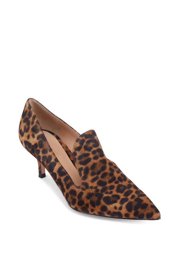Gianvito Rossi Aramis Leopard Print Suede Loafer, 55mm