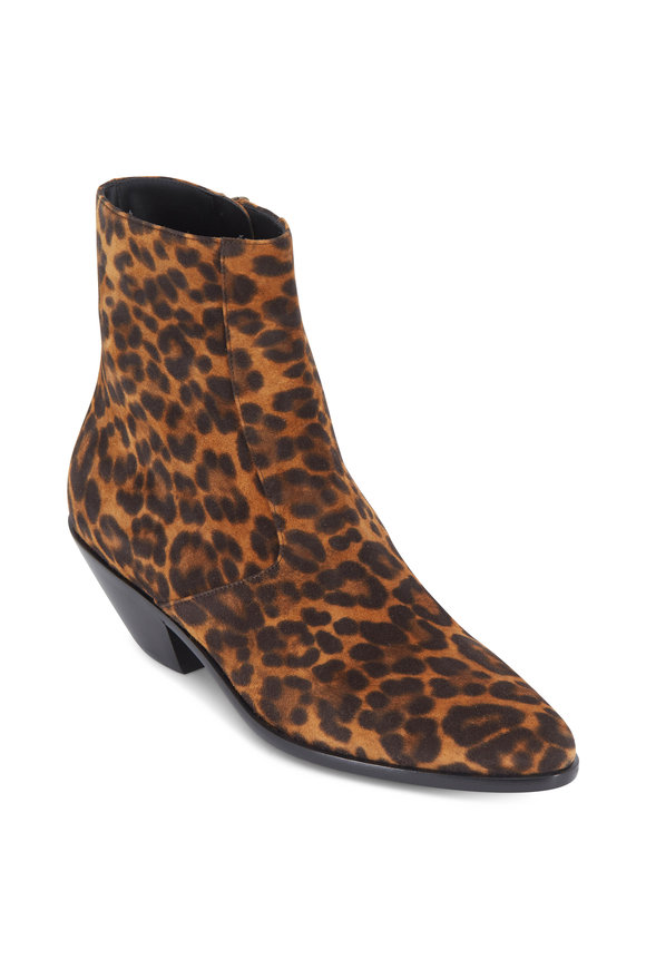 Saint Laurent West Leopard Print Suede Ankle Boot, 45mm