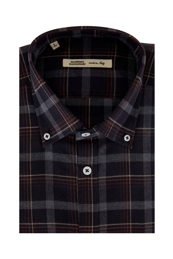 Brown & Rust Plaid Sport Shirt
