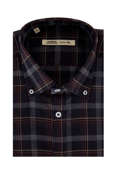 Maurizio Baldassari - Brown & Rust Plaid Sport Shirt