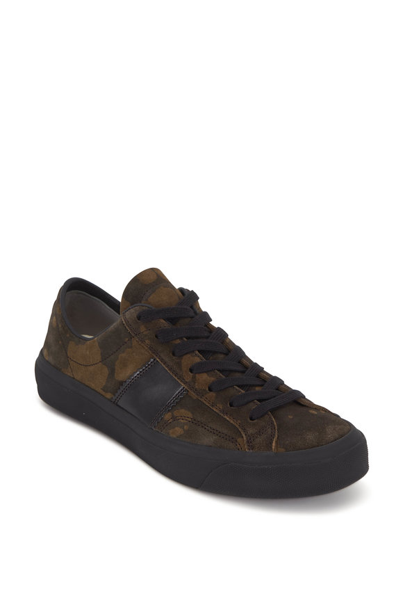 Tom Ford Olive Green Suede Camo Sneaker
