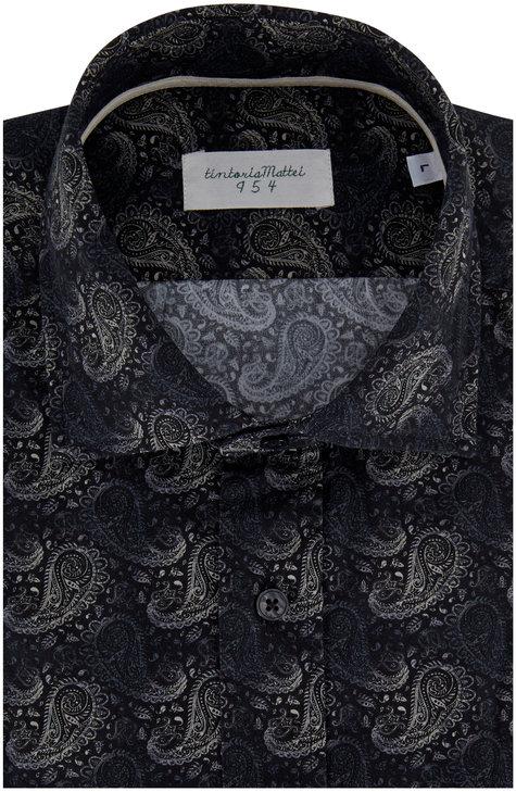 Tintoria Navy Paisley Print Sport Shirt