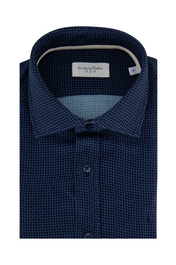 Tintoria Navy Check Contemporary Fit Sport Shirt