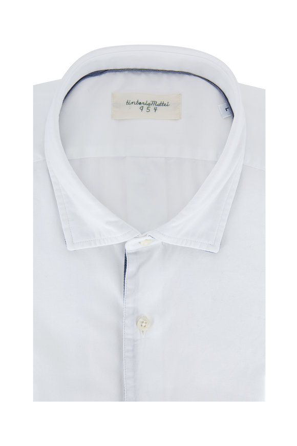 Tintoria White Cotton Blue Trim Sport Shirt