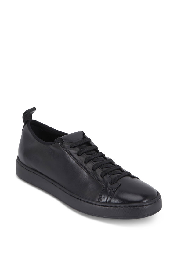 Santoni Black Nappa Leather Soft Low-Top Sneaker