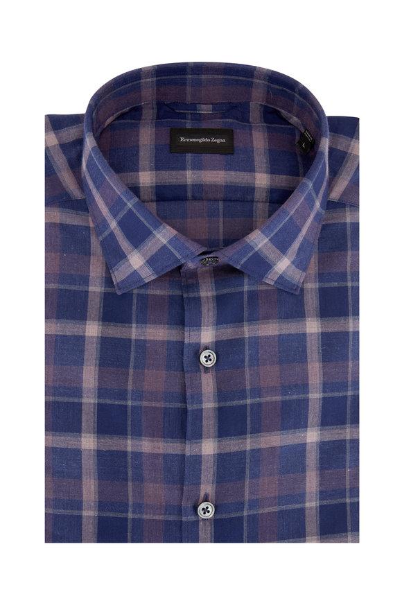 Ermenegildo Zegna Navy & Burgundy Plaid Tailored Fit Sport Shirt
