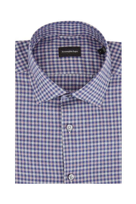 Ermenegildo Zegna Navy, Gray & Tan Plaid Tailored Fit Sport Shirt