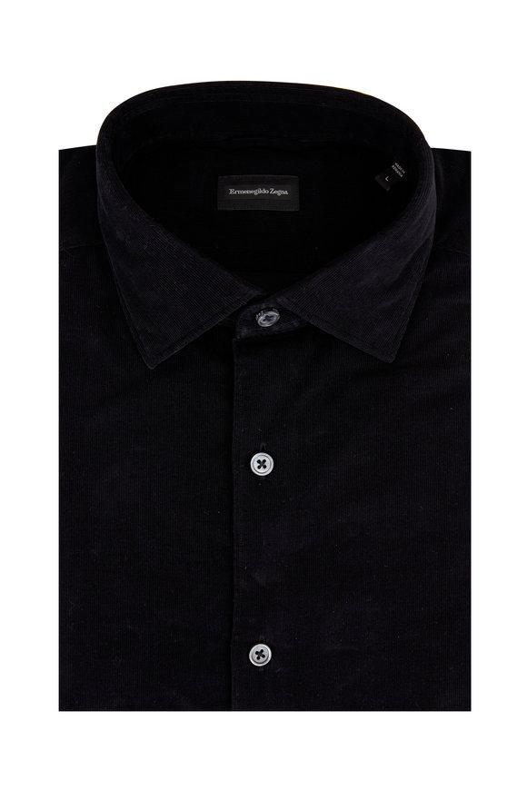 Ermenegildo Zegna Black Corduroy Tailored Fit Sport Shirt