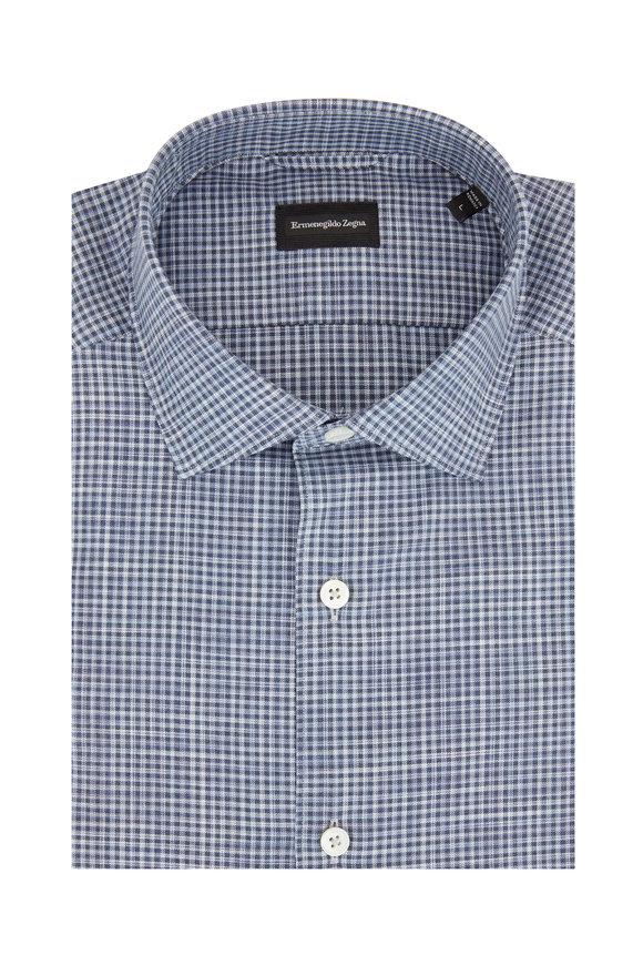 Ermenegildo Zegna Blue Check Tailored Fit Sport Shirt