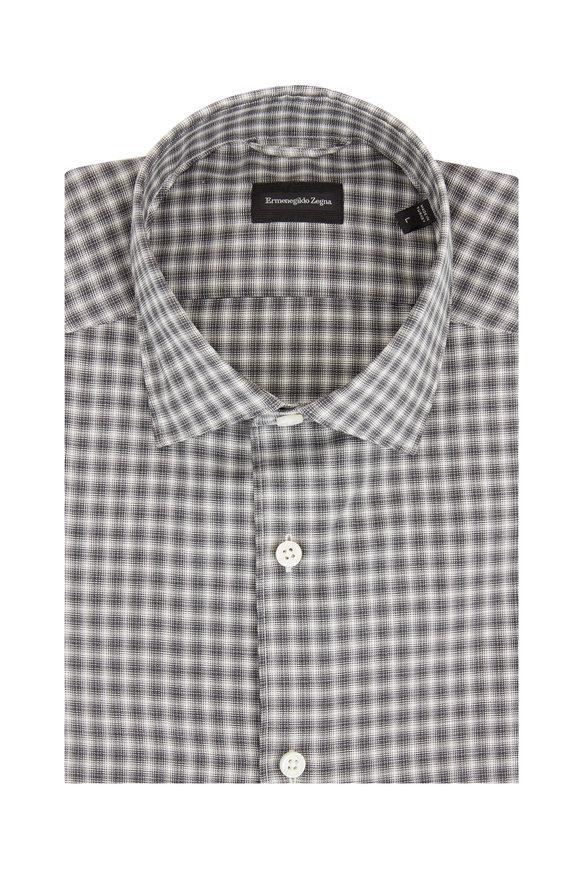 Ermenegildo Zegna Black Check Tailored Fit Sport Shirt