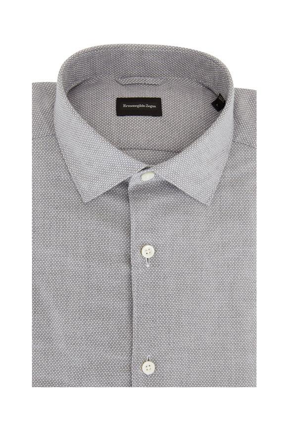 Ermenegildo Zegna Gray Birdseye Tailored Fit Sport Shirt