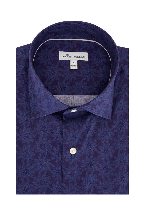 Peter Millar Navy Tonal Palms Short Sleeve Sport Shirt