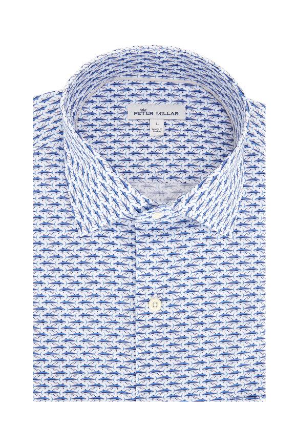 Peter Millar White & Blue Fish Print Short Sleeve Sport Shirt