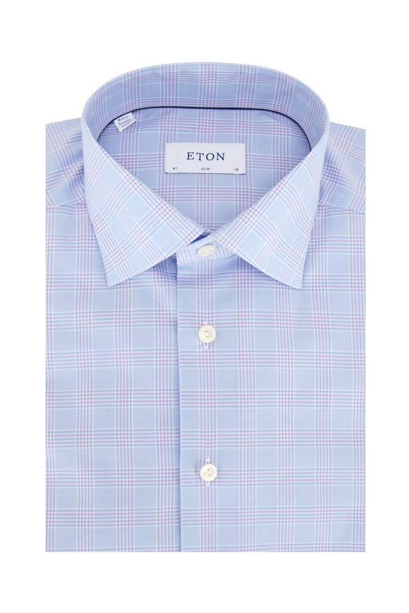 Eton Blue & Lilac Stretch Twill Slim Fit Sport Shirt
