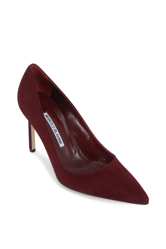 Manolo Blahnik Lisa Bordeaux Suede Pump, 90mm