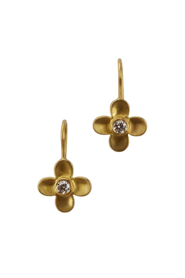 Yellow Gold Diamond Flower Earrings