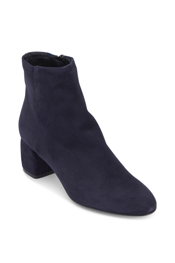 AGL Navy Blue Suede Block Heel Ankle Boot, 50mm