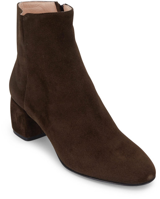 AGL Forest Green Suede Block Heel Ankle Boot, 50mm