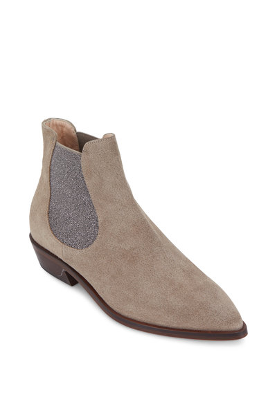 AGL - Taupe Suede Double Gore Ankle Boot