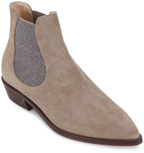 AGL Taupe Suede Double Gore Ankle Boot