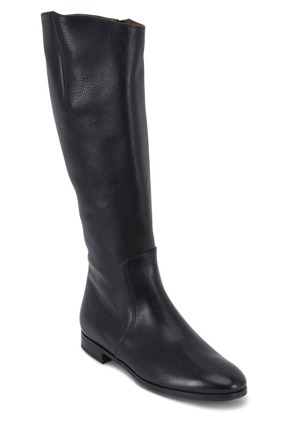 Gravati Black Rustico Leather Tall Flat Boot