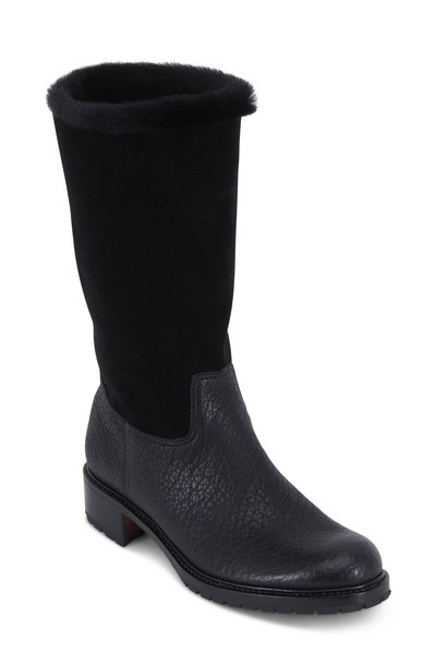 Gravati - Black Leather & Suede Fur Top-Line Boot