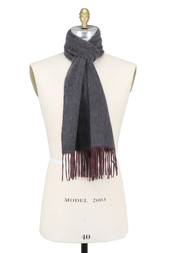Raffi  Cranberry & Iron Double-Faced Cashmere Scarf
